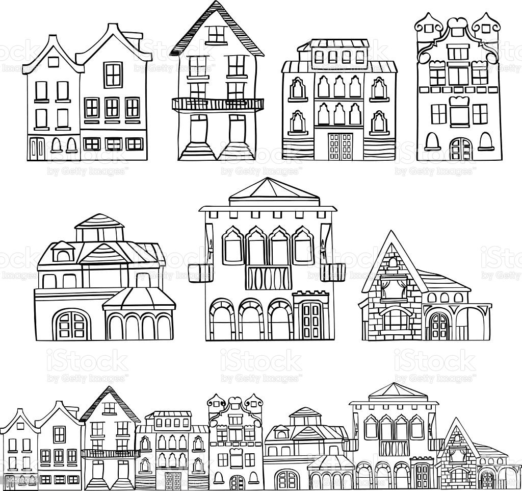 Houses vector art illustration
