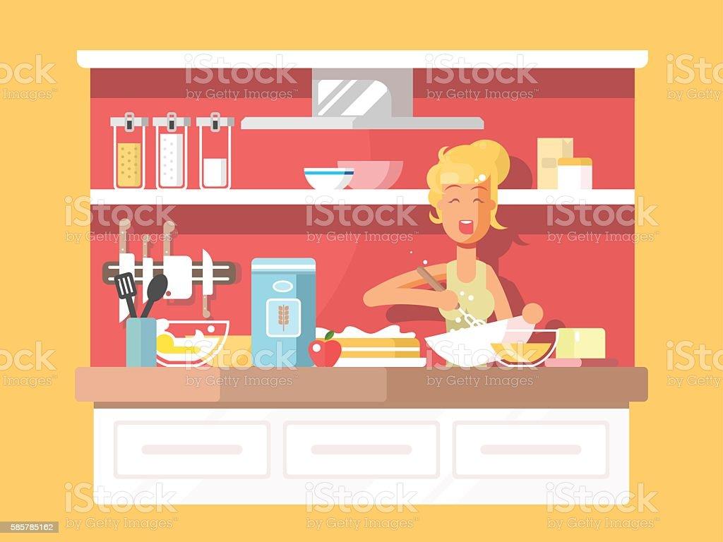 Housewife bakes cake vector art illustration