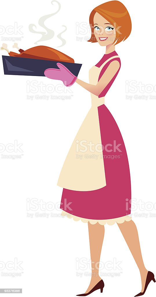 Housewife carrying a baked chicken royalty-free stock vector art