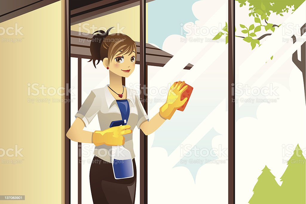 Housewife cleaning windows royalty-free stock vector art