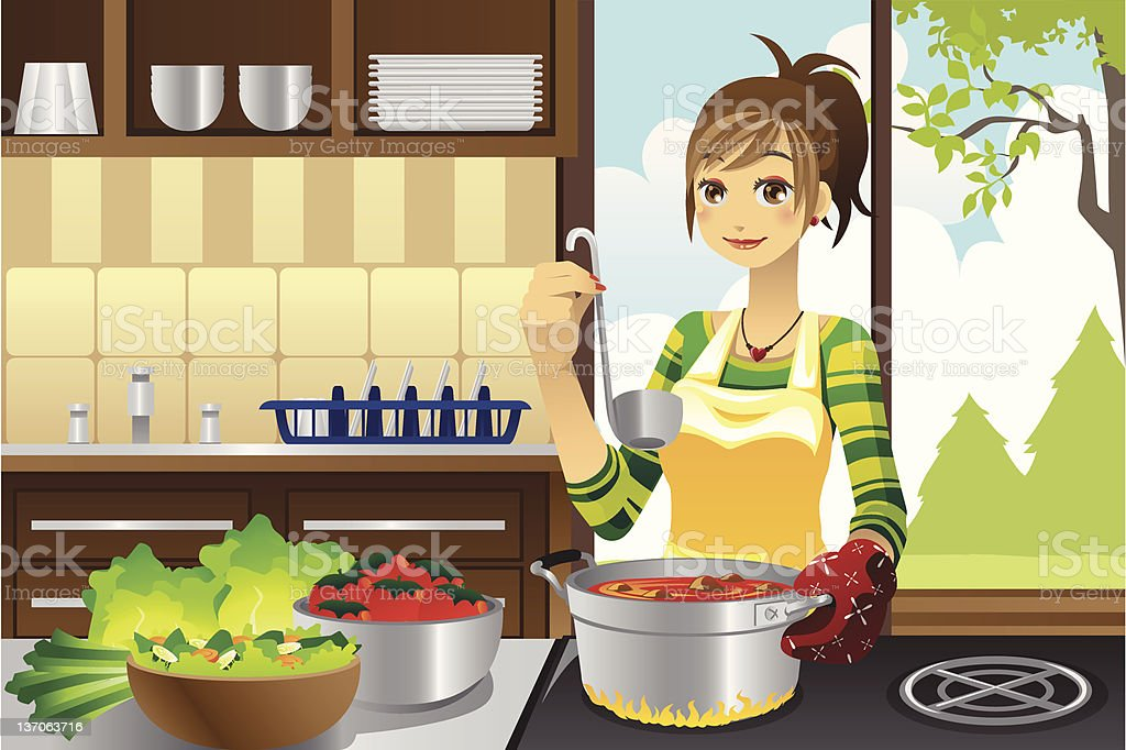 Housewife cooking royalty-free stock vector art