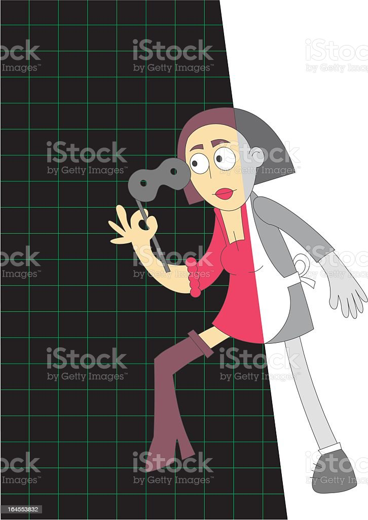 housewife enters cyberspace - vector royalty-free stock vector art