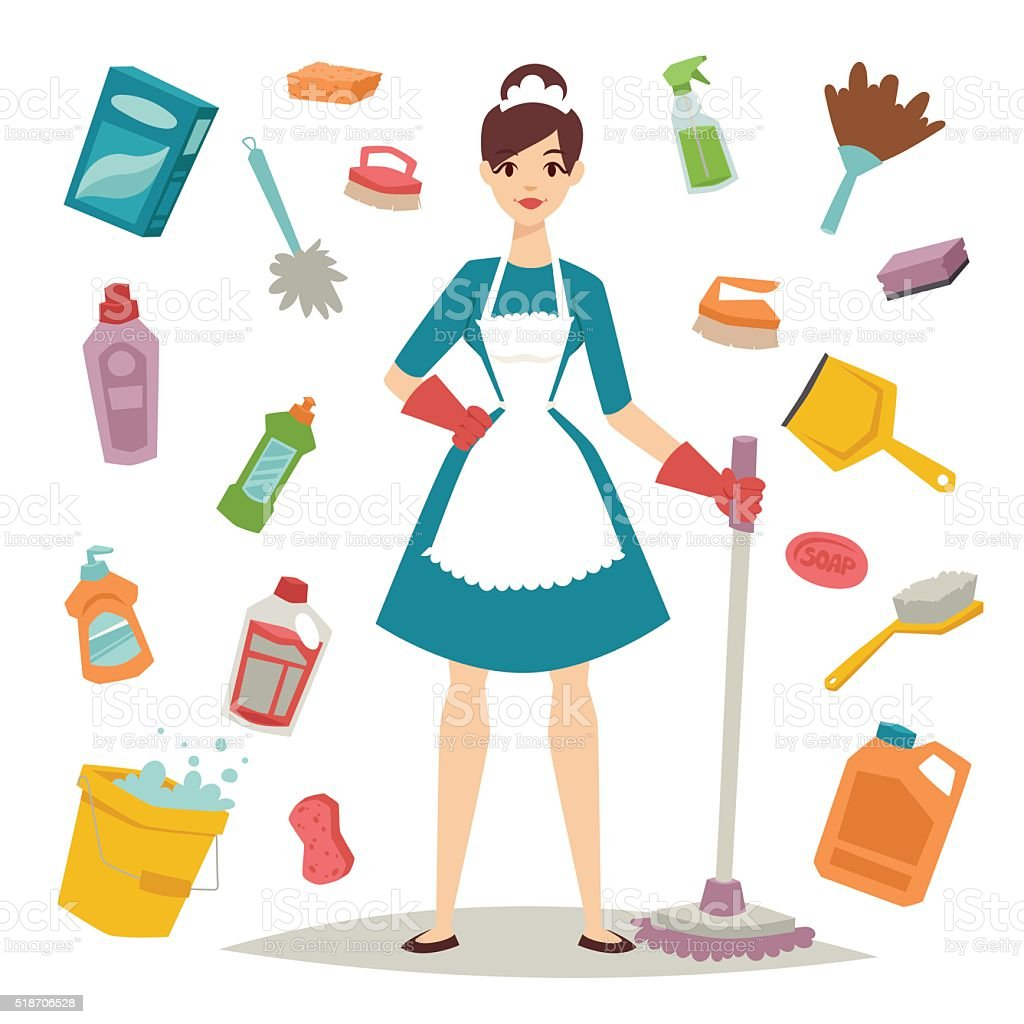 Housewife girl and home cleaning equipment icon in flat style vector art illustration