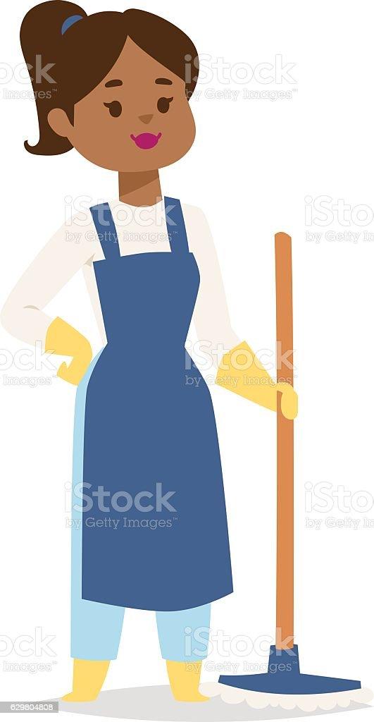 Housewife girl illustration. vector art illustration