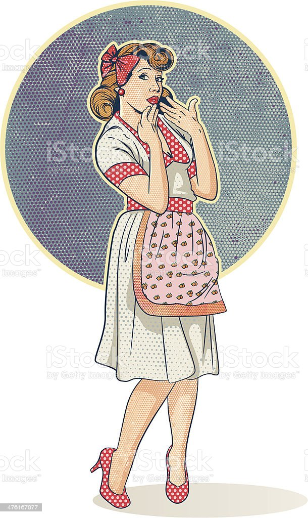 Housewife in retro vector art illustration