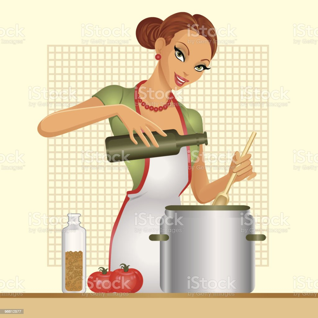 Housewife. Tomato soup. vector art illustration