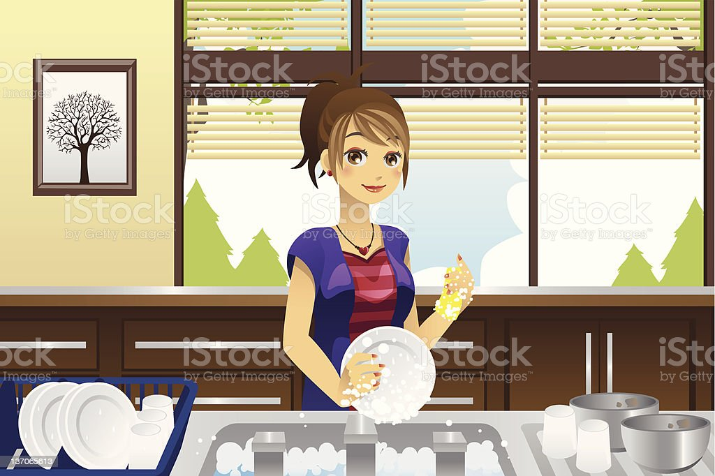 Housewife washing dishes royalty-free stock vector art