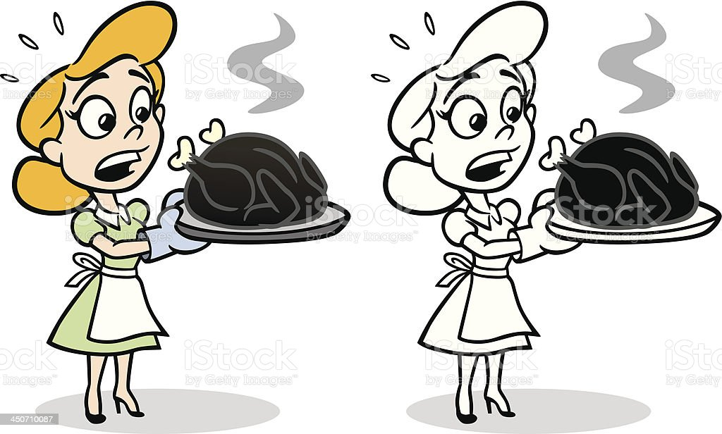 Housewife With Burnt Turkey vector art illustration