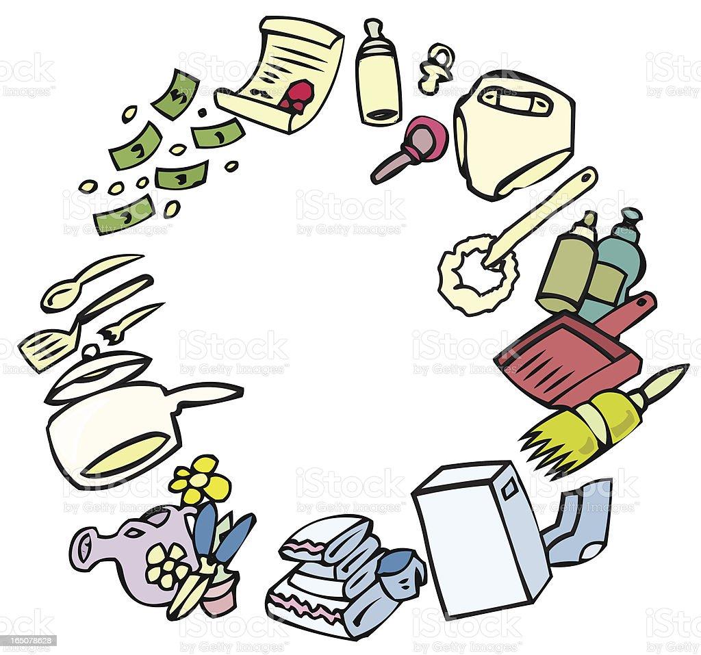 Housework Circle vector art illustration