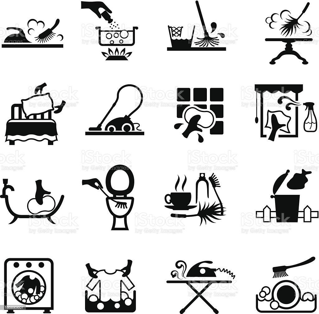 faire le m nage ic nes stock vecteur libres de droits 186895607 istock. Black Bedroom Furniture Sets. Home Design Ideas