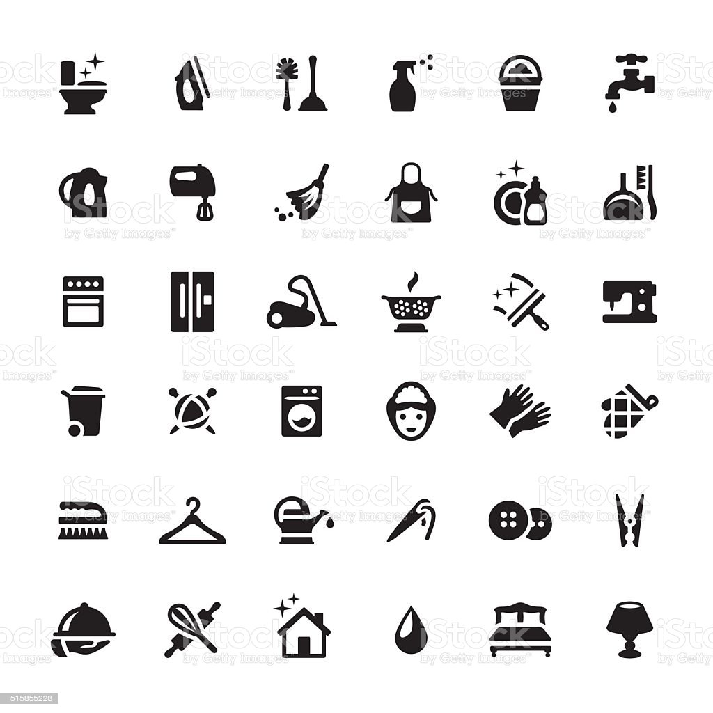 Housework Services vector symbols and icons vector art illustration