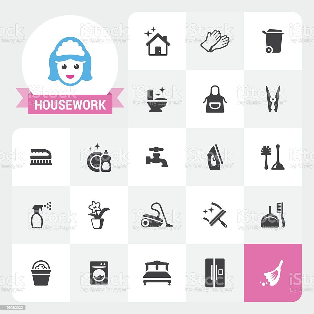 Housework vector icons and label vector art illustration