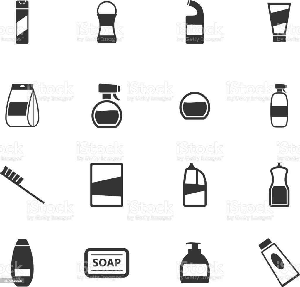 Houshold chemicals icons set vector art illustration