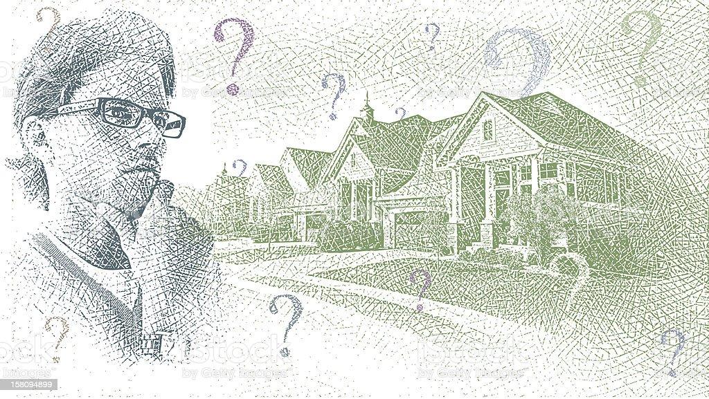 Housing Market Uncertainty royalty-free stock vector art