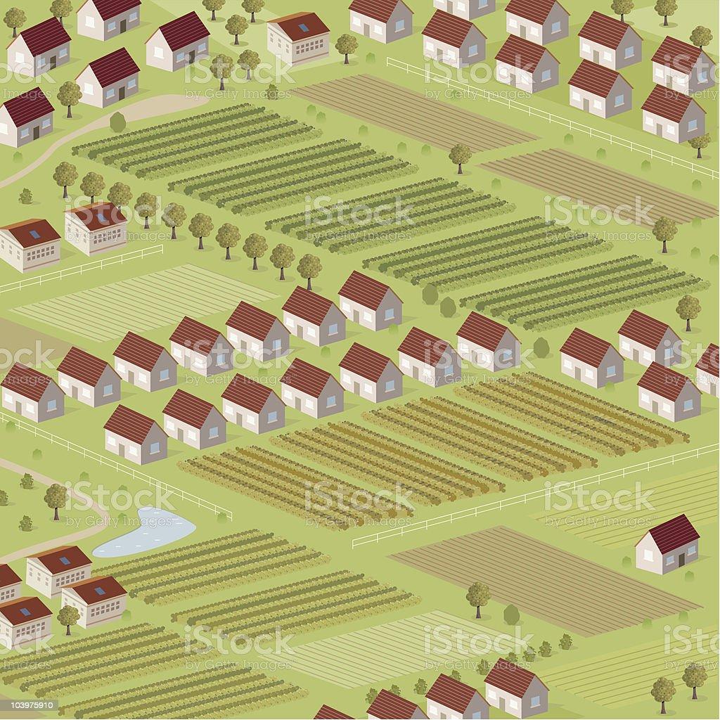 Housing v Farmland royalty-free stock vector art