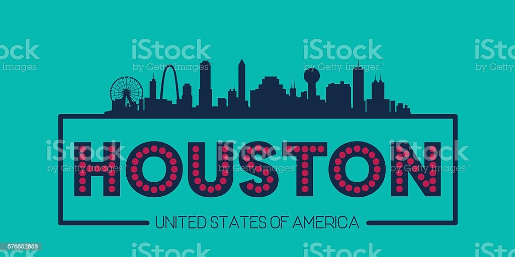 Houston skyline silhouette poster vector vector art illustration