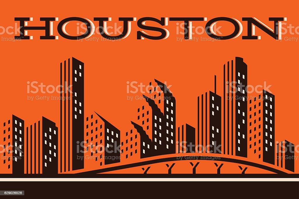 Houston Skyline vector art illustration