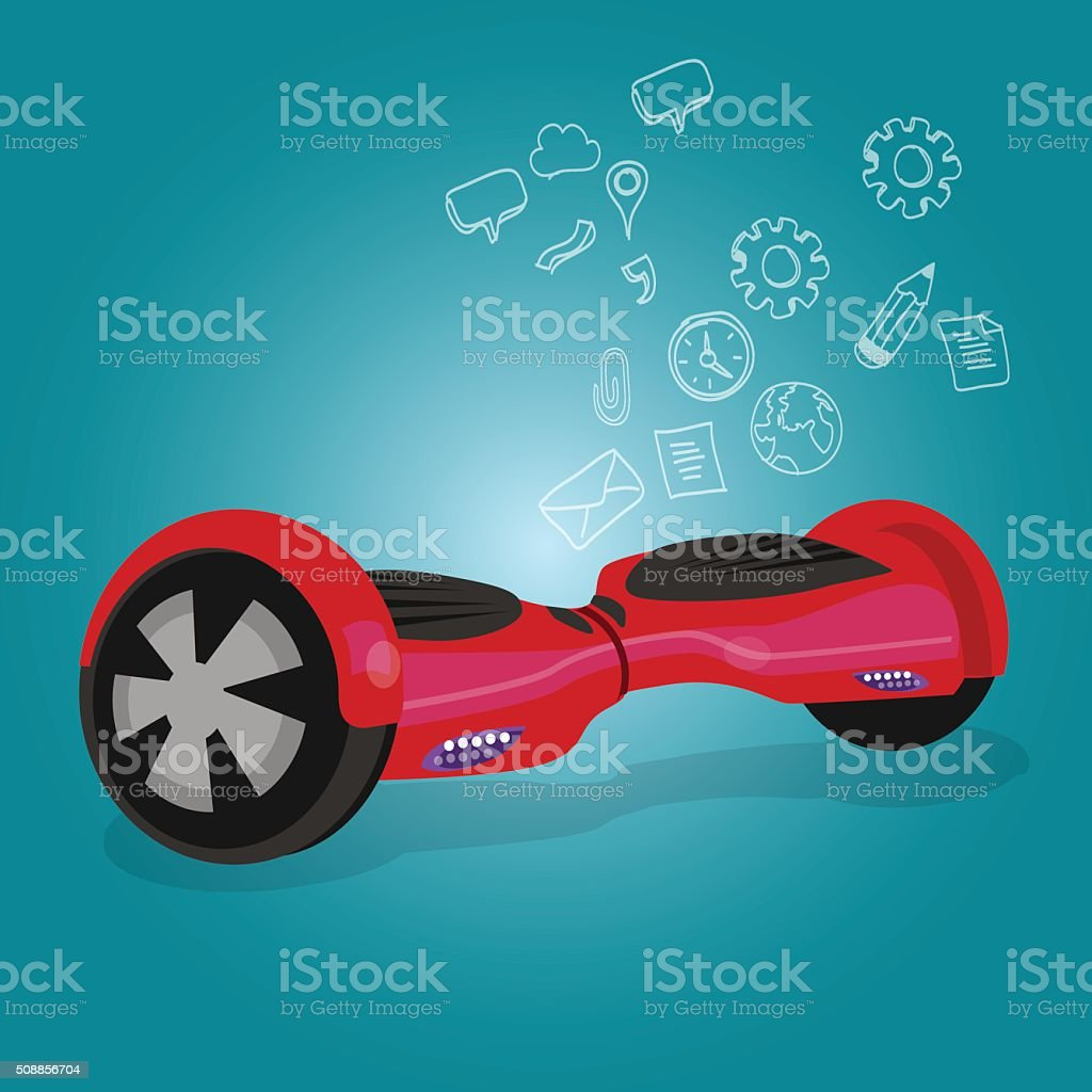 hoverboard hover board vector wheel device technology vehicle rie illustration vector art illustration