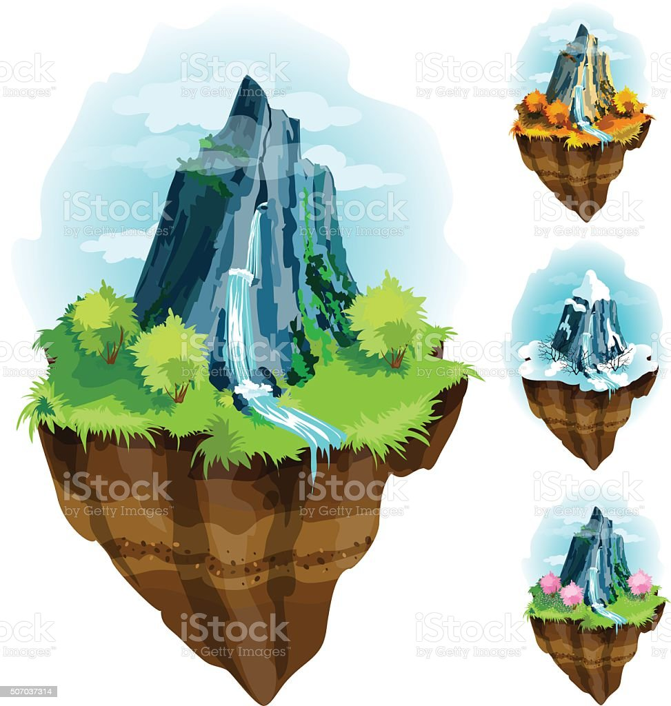 Hovering green island. vector art illustration