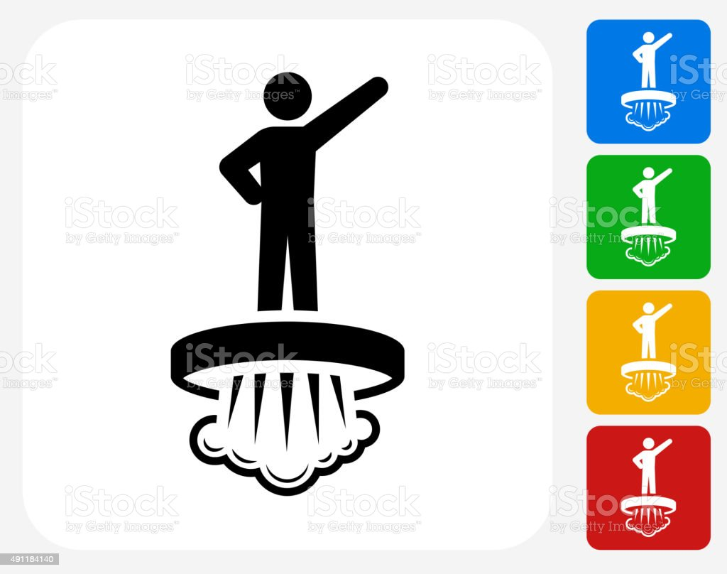 Hovering Technology Icon Flat Graphic Design vector art illustration