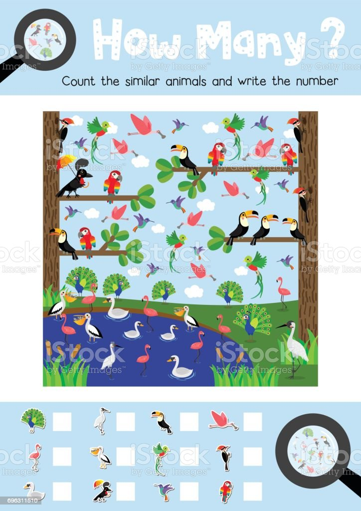Counting game of cute birds animals for preschool kids activity...