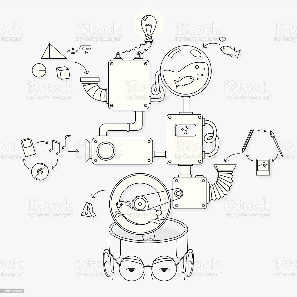 How the creative brain works vector art illustration