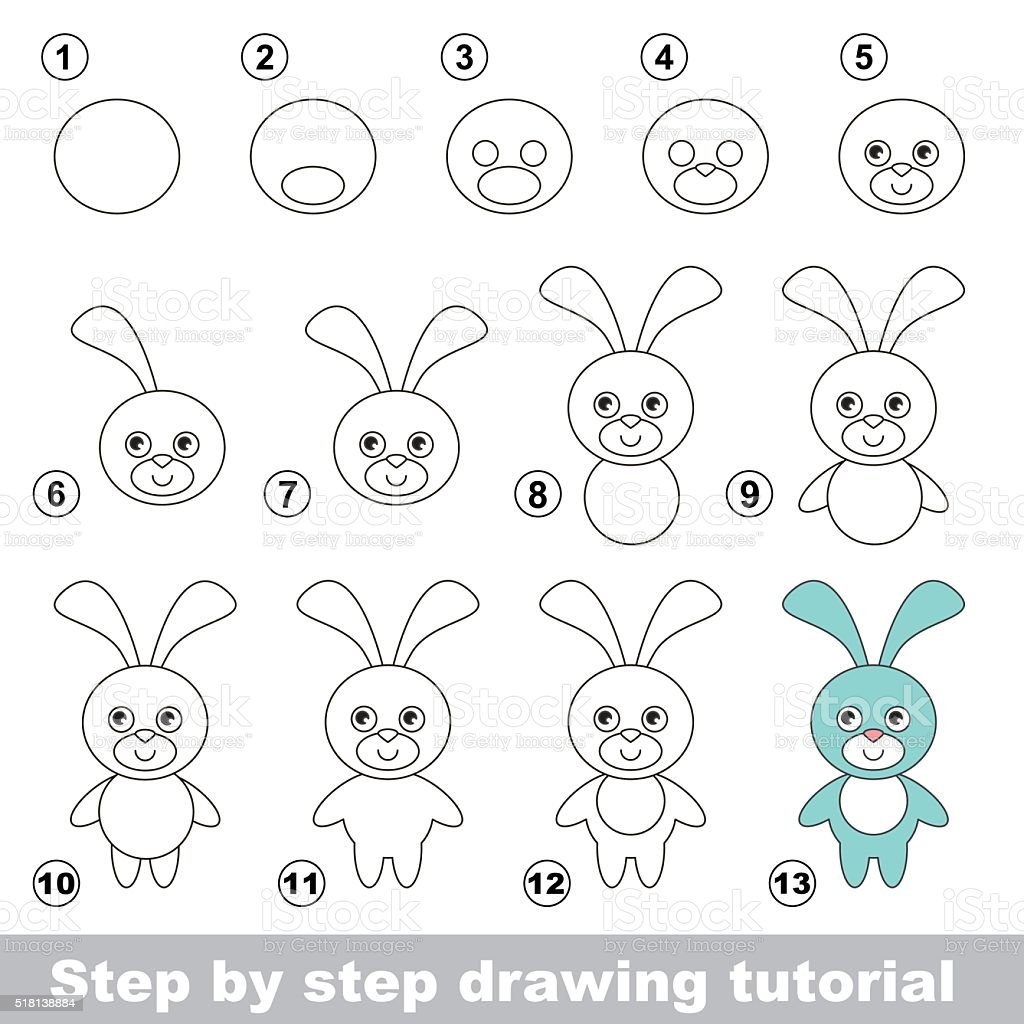 How To Draw A Funny Bunny Royaltyfree Stock Vector Art