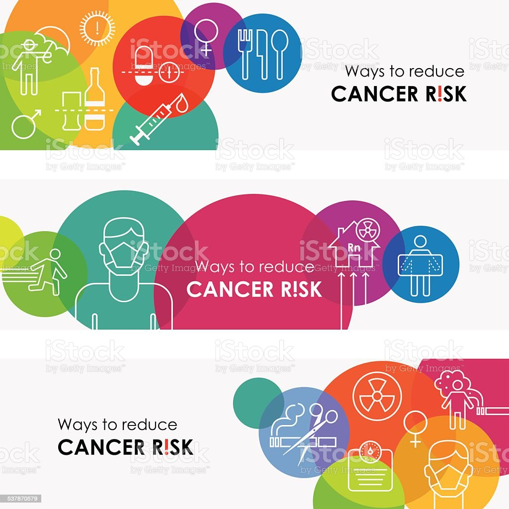 How To Reduce Cancer Risk Banners vector art illustration