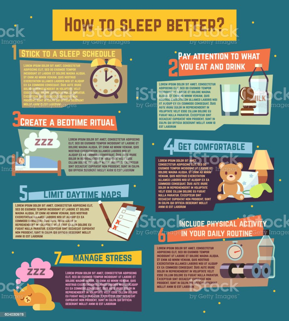 How to sleep better. Vector infographics vector art illustration