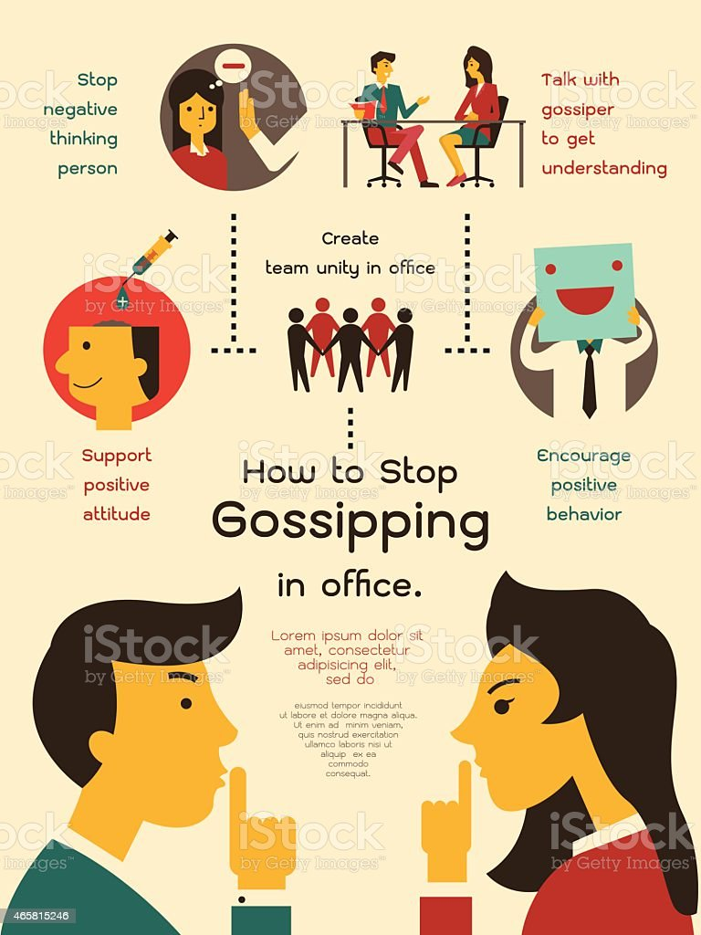 How to stop gossiping in office vector art illustration