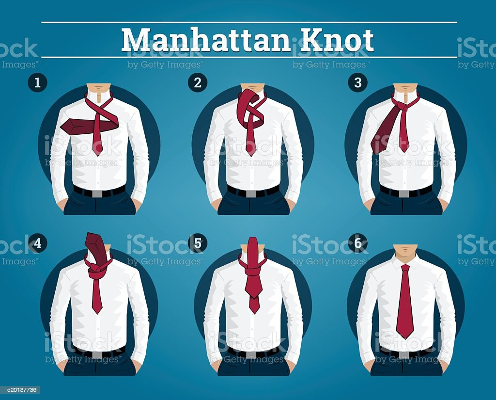 How to Tie a Tie vector art illustration