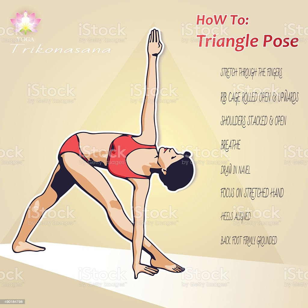 YOGA Howž To Triangle Pose vector art illustration