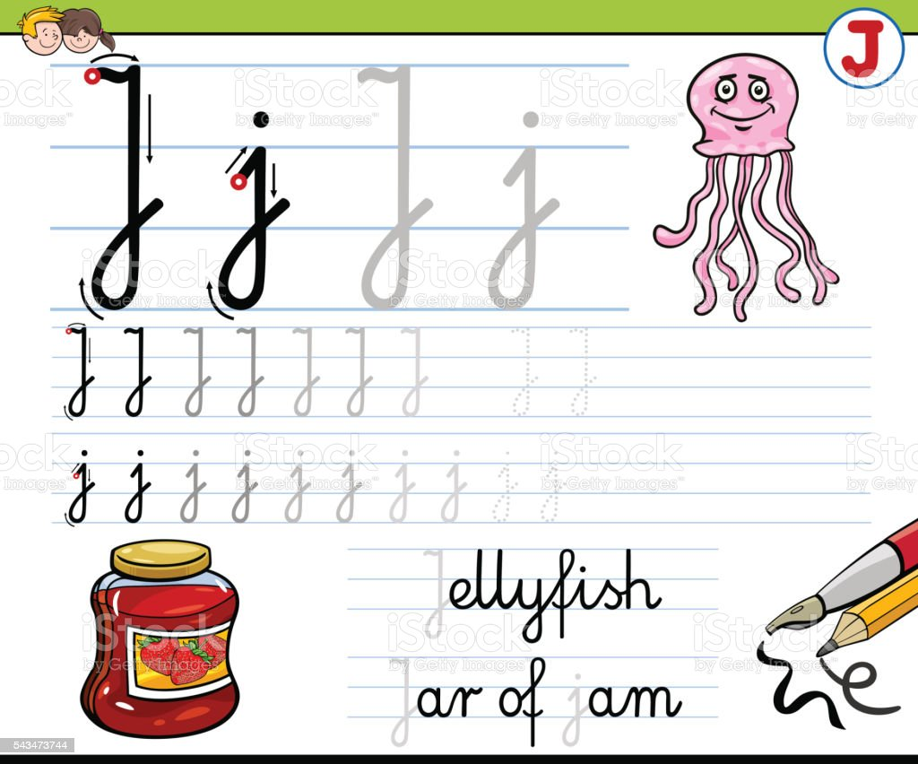 how to write letter j vector art illustration