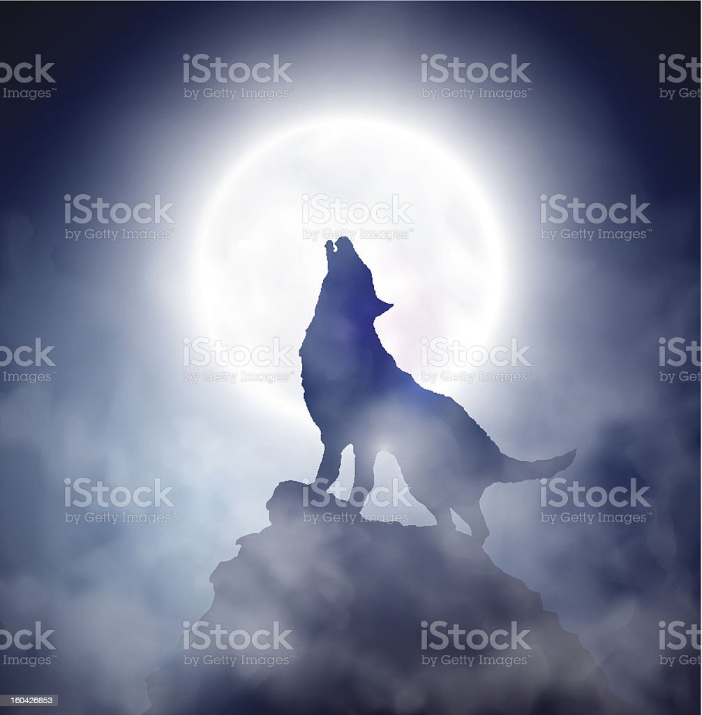 Howling wolf vector art illustration