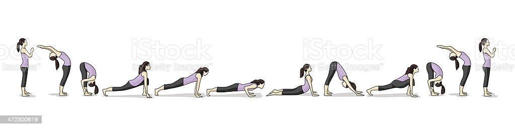 How-to illustration of yoga Sun Salutations vector art illustration