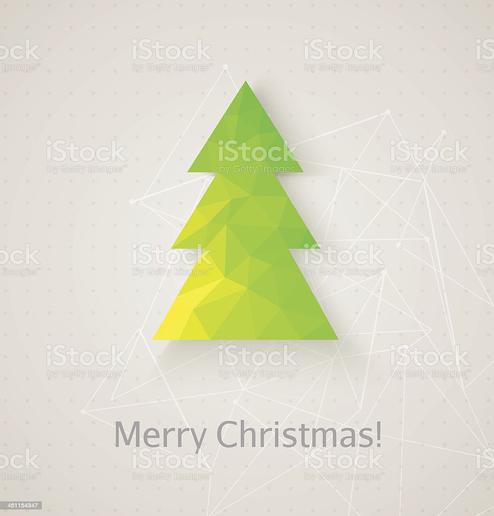 ?hristmas tree made of triangles vector art illustration