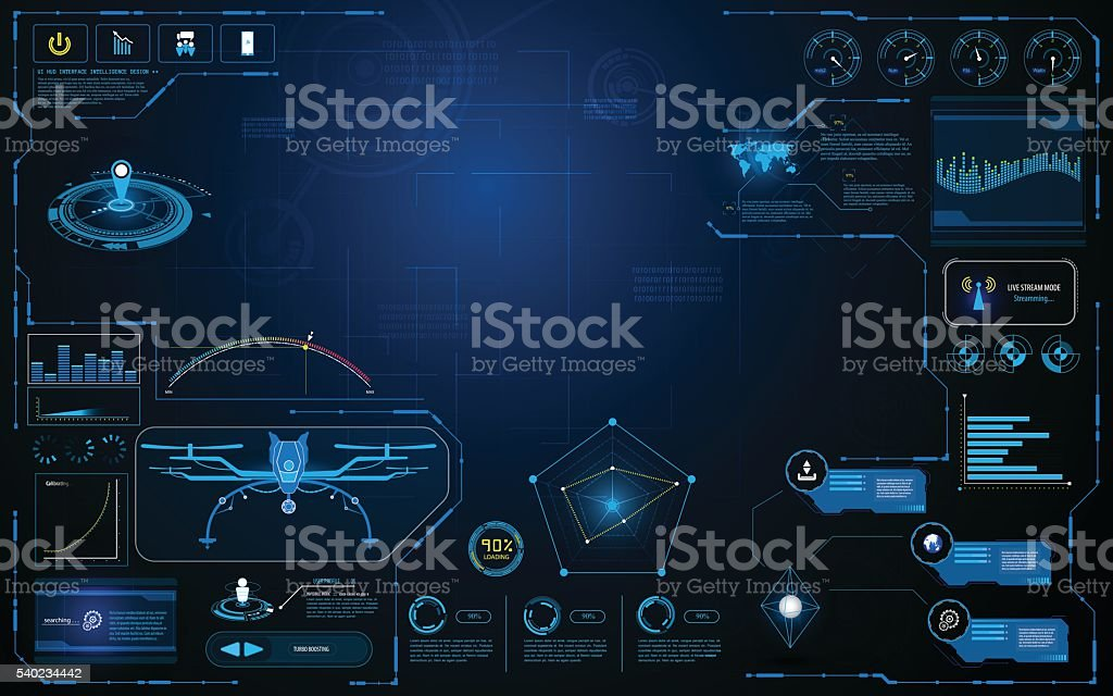 hud interface aircraft system graphic screen concept innovation design background vector art illustration