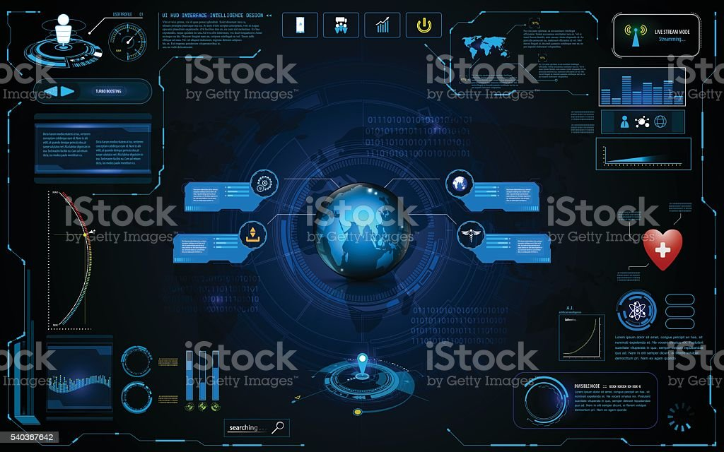 hud interface global network connection tech template design vector art illustration