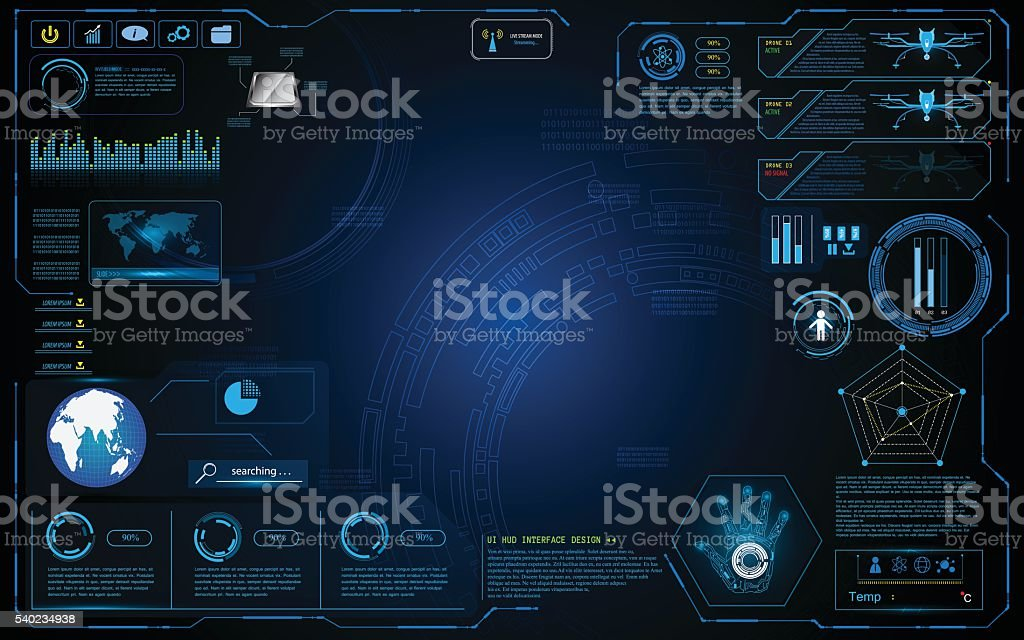 hud interface graphic system design innovation technology working concept background vector art illustration
