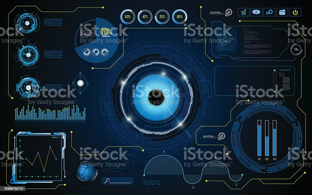 hud interface screen smart UI system technology security concept background vector art illustration