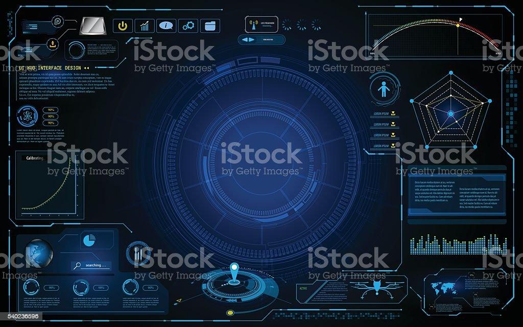 hud interface technology computing screen innovation concept design background vector art illustration