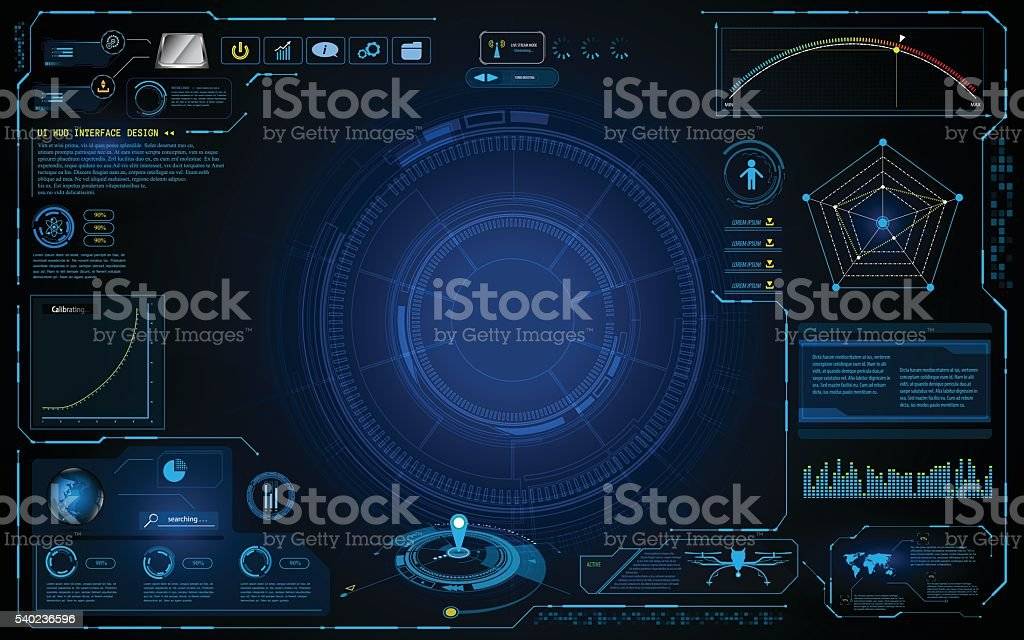 hud interface technology computing screen innovation concept design background vector art illustration