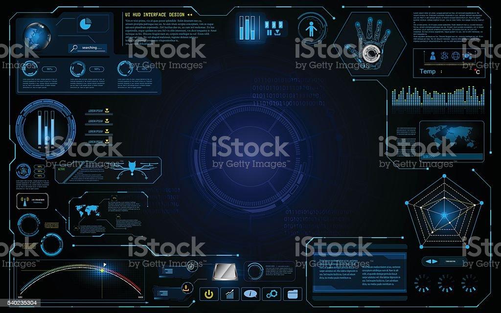 hud interface ui design technology innovation system graphic concept background vector art illustration