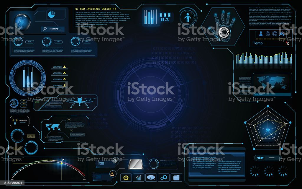 hud interface ui design technology innovation system graphic concept background vector art illustration