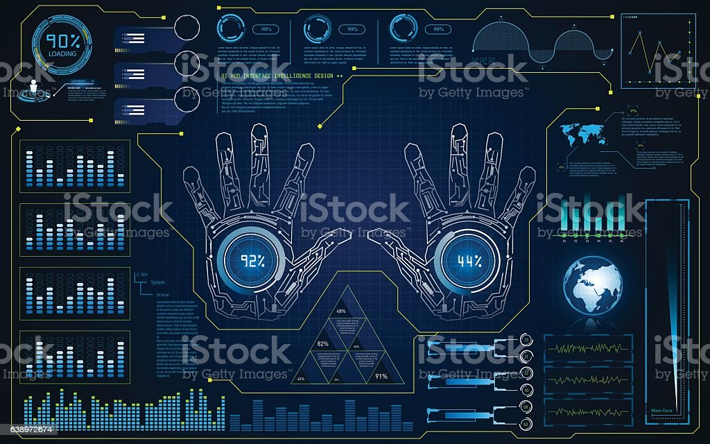 hud interface ui smart screen future hi tech concept background vector art illustration