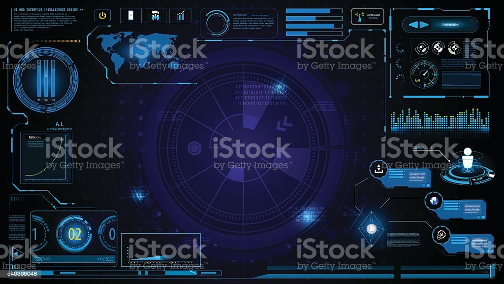 hud technology innovation screen interface template and element design background vector art illustration