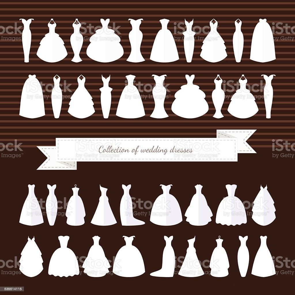 Huge collection of wedding dresses. Wedding Dress. Style - Illustration vector art illustration