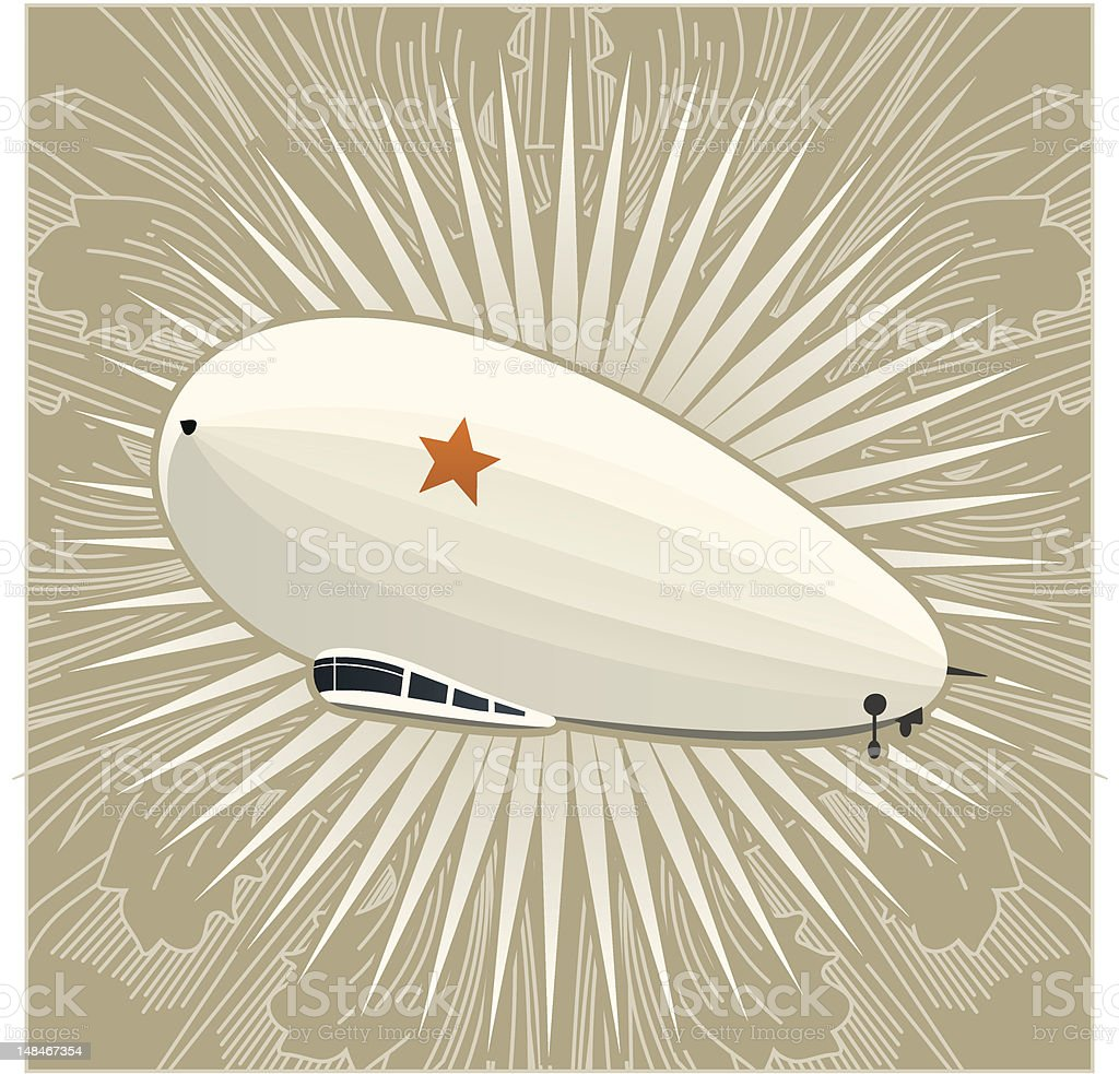 huge dirigible on a vintage background royalty-free stock vector art