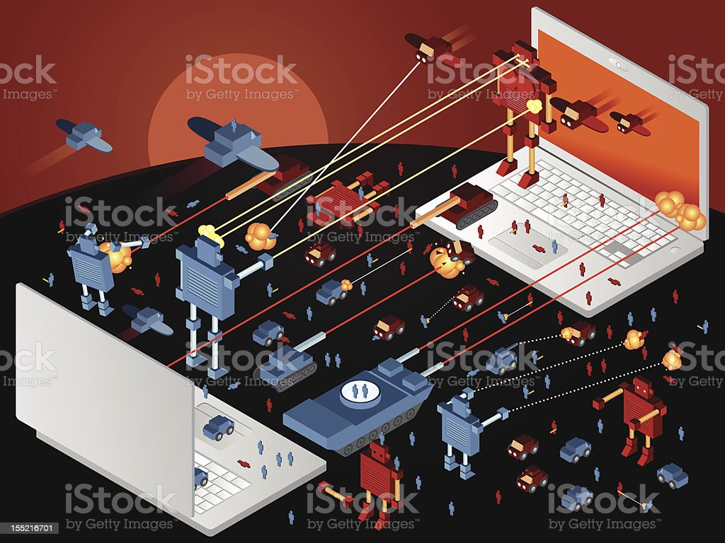 Huge epic laptop war vector art illustration