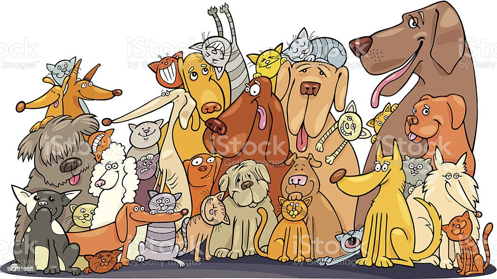 Huge group of Cats and Dogs royalty-free stock vector art